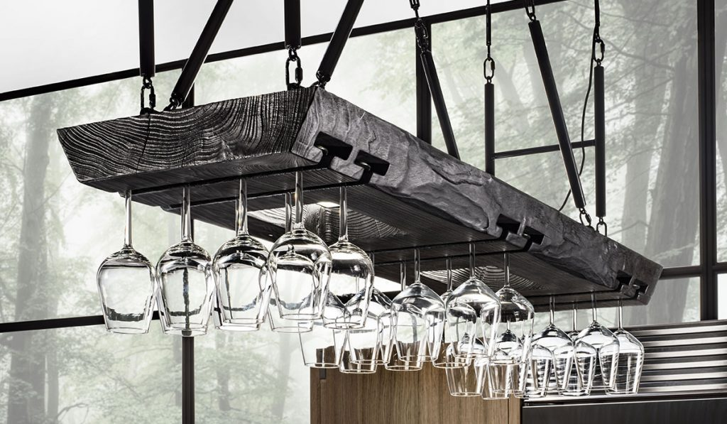 glasses stored on overhead rack