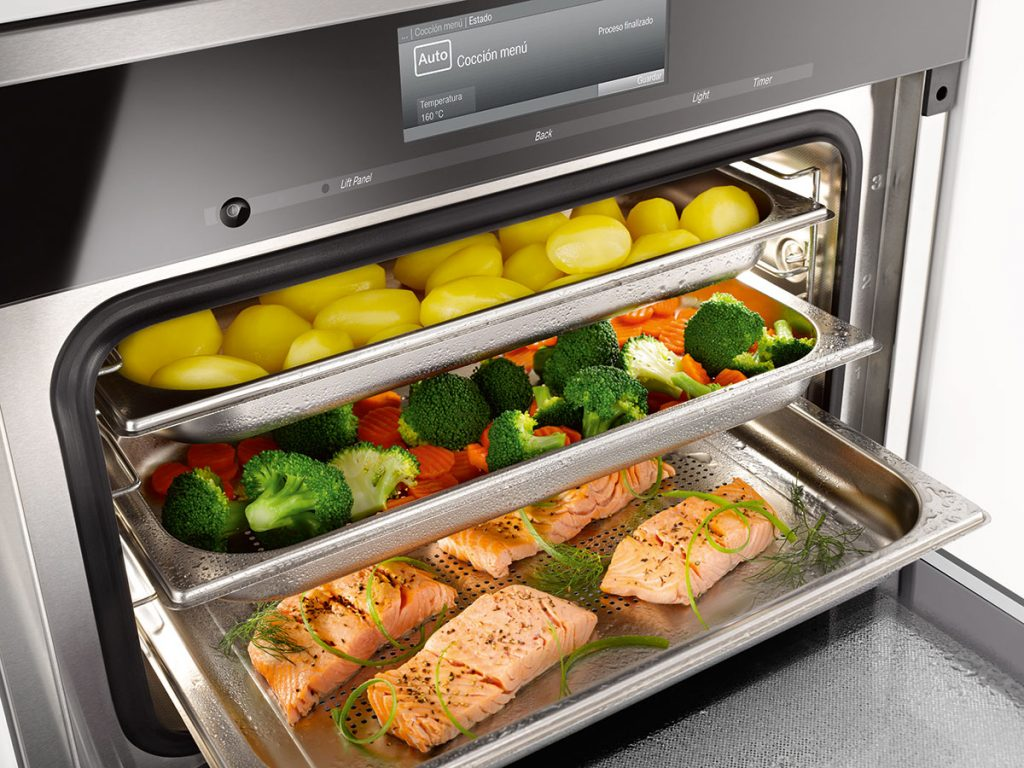 Miele combi steam oven open with food